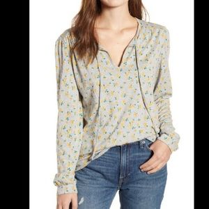 Lucky brand gray top with yellow flowers